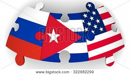 Cooperation Of Usa, Russia And Cuba. Puzzles With Flags Of United States Of America, Russian Federat