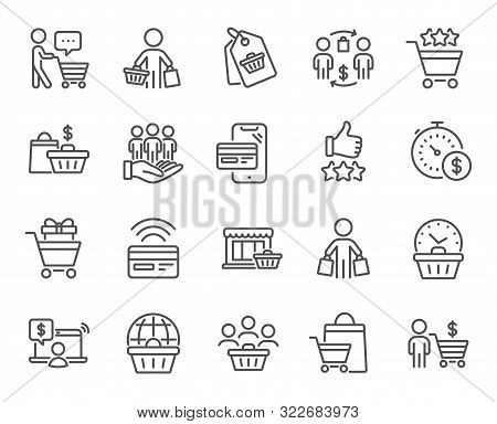 Buyer Customer Line Icons. Contactless Payment Card, Shopping Cart And Group Of People. Store, Buyer