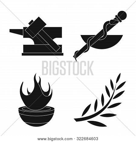 Vector Illustration Of Religion And Myths Symbol. Set Of Religion And Greek Stock Symbol For Web.