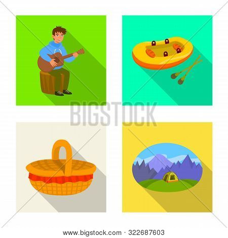 Vector Illustration Of Cookout And Wildlife Logo. Collection Of Cookout And Rest Stock Symbol For We