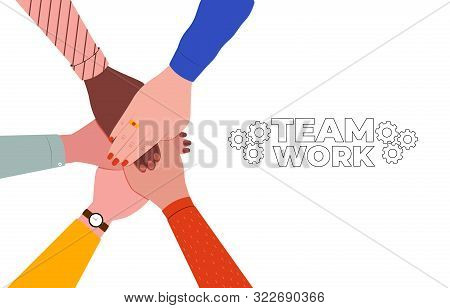 Hands Together. Symbol Of Teamwork, Partnership, Agreement, Social Community And Unity. People Putti