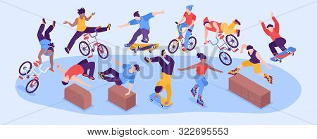 Extreme Street Sport Horizontal Narrow Vector Illustration With Group Of Teenage Boys And Girls Perf