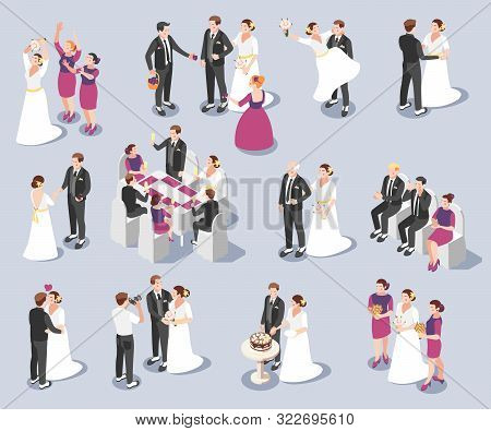Wedding Ceremony Memorable Moments Isometric Icons Set With Vows And Rings Exchange Marriage Pronoun