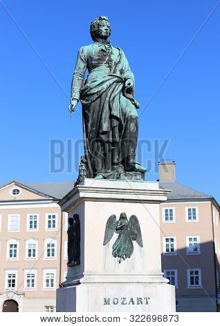 Statue Of Famous Composer Called Wolfgang Amadeus Mozart In Salzburg Austria