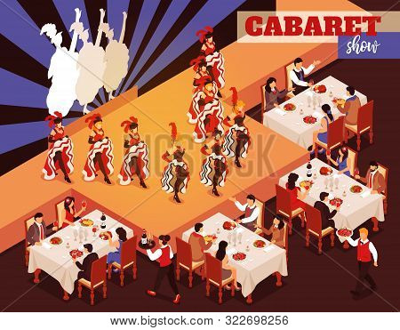 Cabaret Show Isometric Restaurant Interior With People Sitting At Tables And Look At Ballerinas Danc