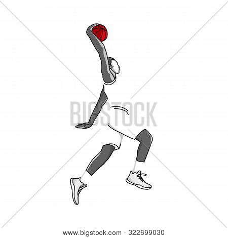 Vector Basketball Player Jump In The Air To Shot With A Slam Dunk Posture.