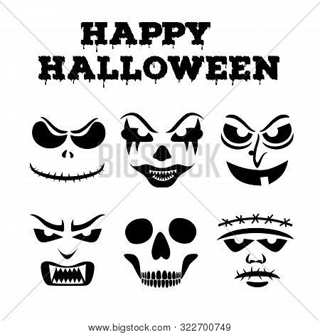 Collection Of Halloween Pumpkins Carved Faces Silhouettes. Black And White Images. Template With Var