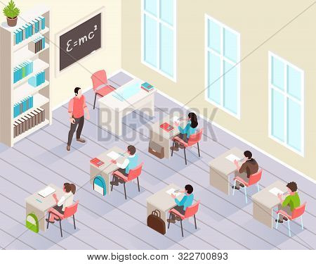 School Classroom Isometric Background With Pupils Sitting At Desks And Listen Teacher Standing Near