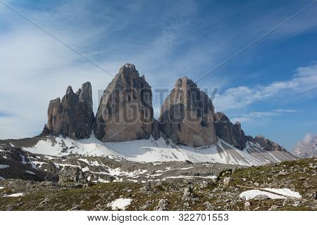 Beautiful View On Drei Zinnen Mountain. Sexten Dolomiten, Italy.