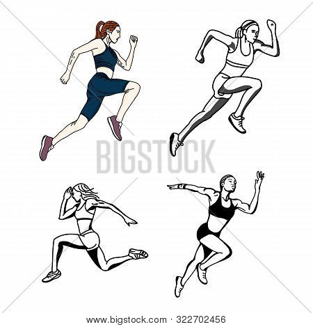 Vector Set Of Female Sprinter, Hand Drawn And Coloring Running, Sprinter, Athlete Isolated On White