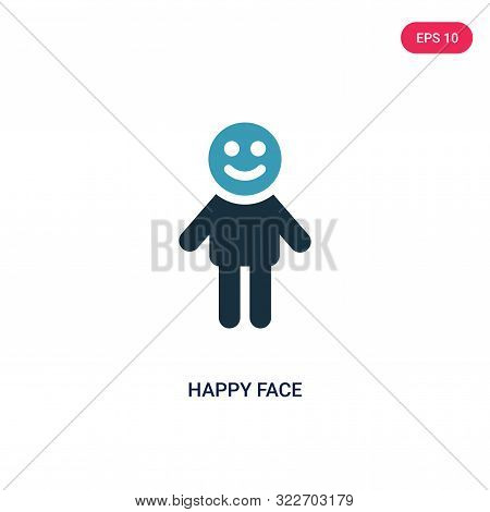 Happy Face Icon In Two Color Design Style. Happy Face Vector Icon Modern And Trendy Flat Symbol For