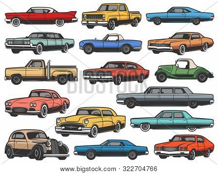 Vintage Vector Retro Cars And Vehicle Isolated Objects. Old Classic And Antique Vehicle Models Of Mu