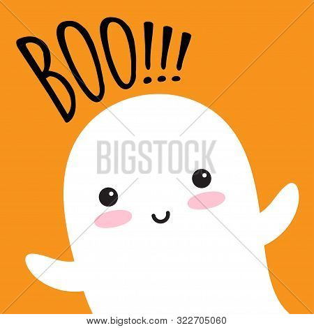 Happy Flying Ghost With Speech Bubble Boo. Scary White Ghost. Cute Little Flying Ghost. Vector Illus