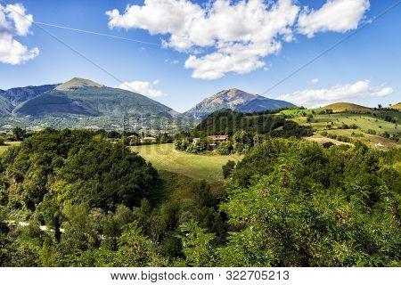 Panorama Of The Twin Mountains Around Campli, Abruzzo, Italy. Monti Gemelli (twin Mountains) Belongd