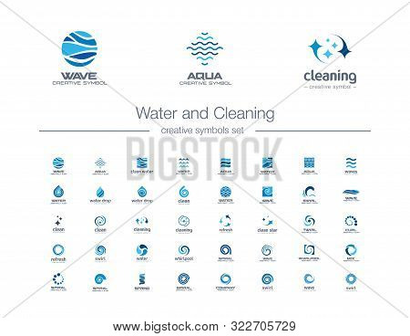 Water Drops, Waves And Cleaning Creative Symbols Set. Pure Aqua, Bio Drink Abstract Business Logo Co