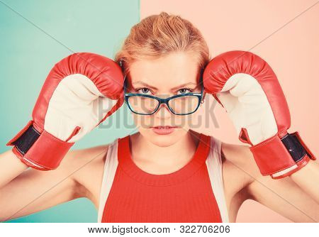 Strong intellect victory pledge. Know how defend myself. Confident her power. Strong mentally and physically. Smart and strong. Woman boxing gloves adjust eyeglasses. Win with strength or intellect poster