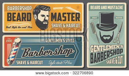 Barbershop, Barber And Man Hairdresser Salon Vintage Posters. Vector Gentleman Hat With Beard And Mu