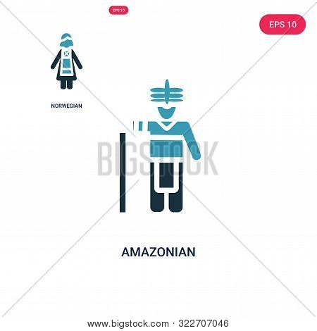 amazonian icon in two color design style.