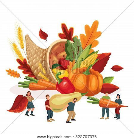 Autumn Harvesting And Farming Concept. Vector Flat Cartoon Illustration For Thanksgiving Holiday. Mi