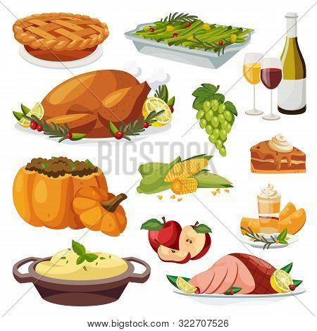 Thanksgiving Holiday Menu Design Elements. Vector Flat Cartoon Illustration. Traditional Holiday Hom