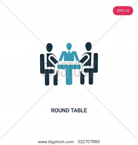 round table icon in two color design style.