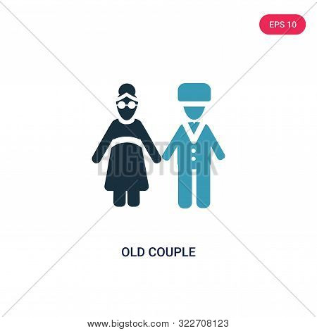 Old Couple Icon In Two Color Design Style. Old Couple Vector Icon Modern And Trendy Flat Symbol For
