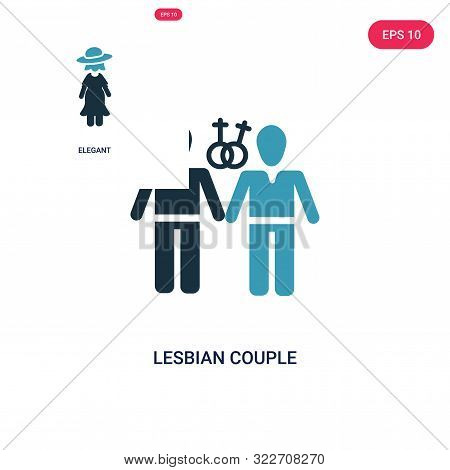 Lesbian Couple Icon In Two Color Design Style. Lesbian Couple Vector Icon Modern And Trendy Flat Sym