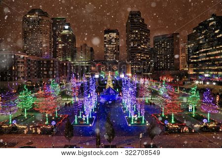 Columbus Commons in this Ohio city is brightly illuminated during the Christmas holiday season.