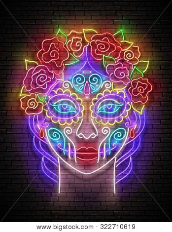 Dia De Los Muertos Greeting Card Template With Catrina Calavera. Day Of The Dead Postcard. Shiny Neo