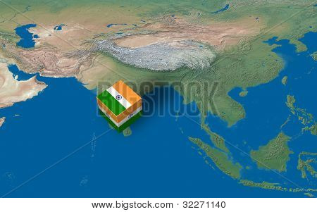 Location of India over the Country