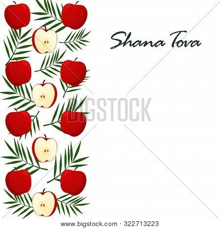 Shana Tova Template Of Banner. New Year Banner With Honey, Shofar, Apple, Pomegranate, Carrot, Palm,