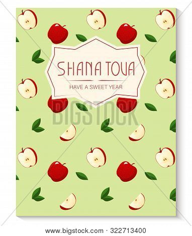 Rosh Hashanah Greeting Card With Apple Pattern. Jewish New Year. Shana Tova, New Year In Hebrew. Vec