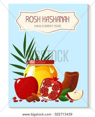 Rosh Hashana. Greeting Card. Shana Tova. New Year Banner With Honey, Pomegranate, Shofar, Apple, Pal