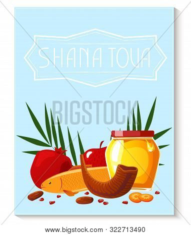 Shana Tova Template Of Banner. New Year Banner With Honey, Shofar, Apple, Pomegranate, Fish, Carrot,
