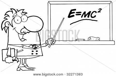 Outlined Professor Discussing Mass Energy Equivalence Physics