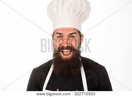 Happy Chef. Professional Culinary. Food Concept. Smiling Chef In Uniform, Hat And Apron. Professiona