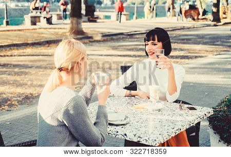 Conversation Of Two Women Cafe Terrace. Friendship Meeting. Togetherness Female Friendship. Trustful
