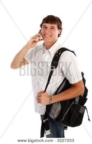 Young College Student On Cellphone
