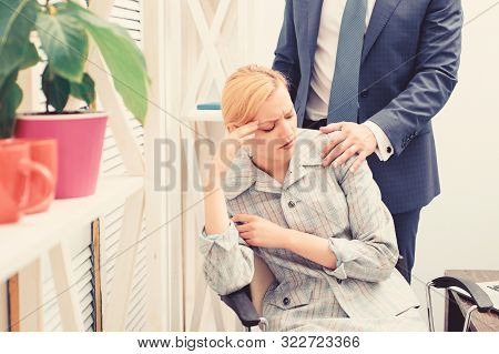 Workplace Bullying Concept. Sexual Harassment Between Colleagues And Flirting In Office. Lustful Bos