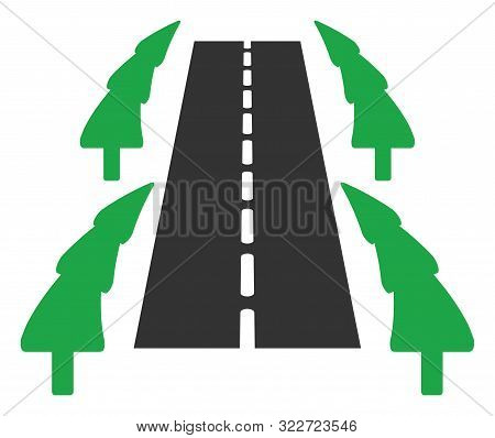 Vector Tree Ally Road Flat Icon. Vector Pictogram Style Is A Flat Symbol Tree Ally Road Icon On A Wh