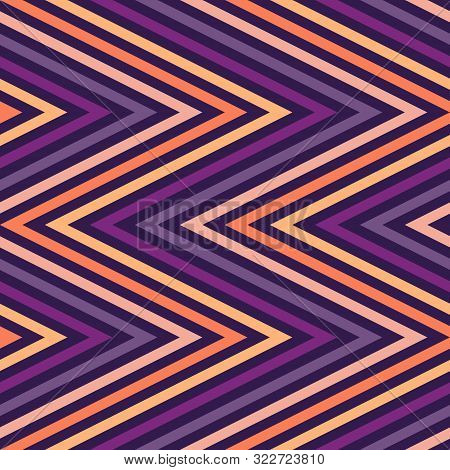 Zigzag Lines Seamless Pattern. Vector Chevron Texture. Autumn Colors, Halloween Or Thanksgiving Day