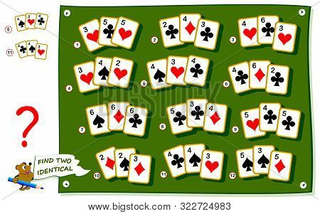 Logical Puzzle Game For Kids And Adults. Find Two Identical Card Sets. Printable Page For Baby Brain