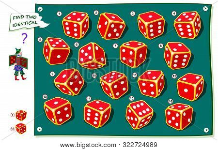 Logical Puzzle Game For Kids And Adults. Find Two Identical Dices. Printable Page For Brainteaser Bo