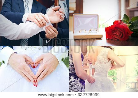 Wedding Collage. Wedding Rings, Preparation, Bride, Young Couple Concept.