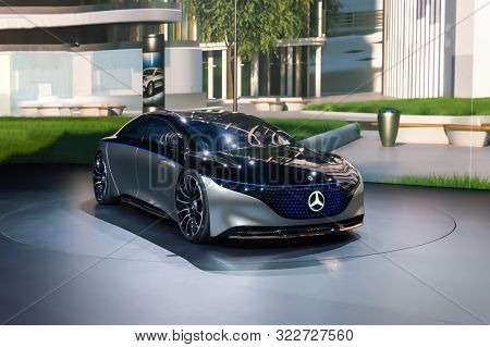 Frankfurt - Sep 15, 2019: Silver Mercedes-benz Vision Eqs - Premiere Of Fully Electric Luxury Concep
