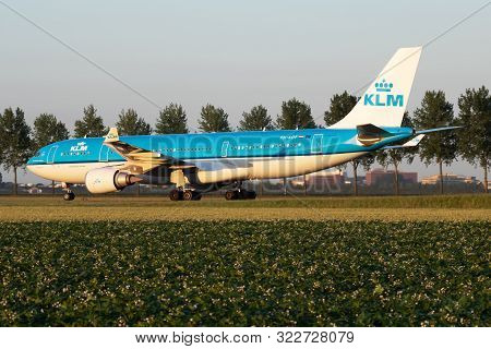 Amsterdam / Netherlands - July 3, 2017: Klm Royal Dutch Airlines Airbus A330-200 Ph-aof Passenger Pl