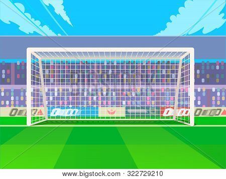 Soccer Goalpost With Net. Association Football Goal On Field. Qualitative Vector Illustration For So