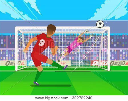 Penalty Soccer Players Defending The Gates. Sportswear Flat Design. Men On Football Stadium Wearing