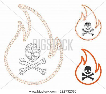 Mesh Toxic Fire Model With Triangle Mosaic Icon. Wire Carcass Polygonal Mesh Of Toxic Fire. Vector C