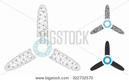 Mesh Rotor Model With Triangle Mosaic Icon. Wire Frame Triangular Network Of Rotor. Vector Mosaic Of